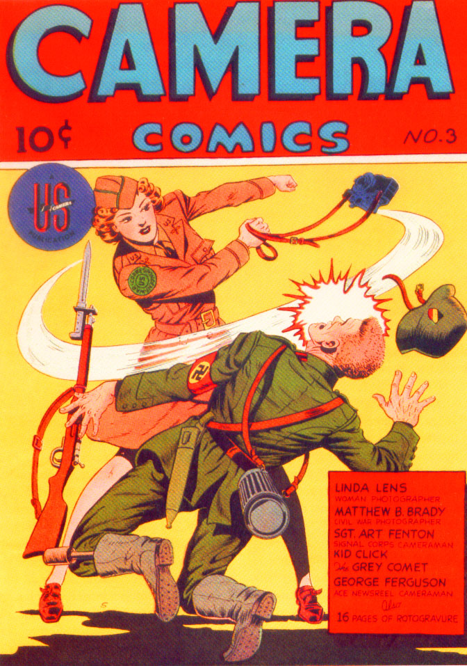 World War II  woman camera soldier swings at a nazi!  On chicagosee.com