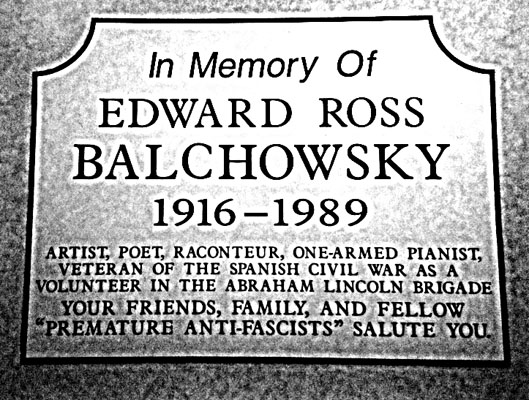 No 99 Eddie Balchowsky Chicago Abraham Lincoln Brigade